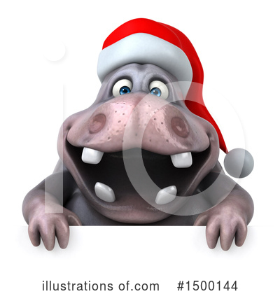 Christmas Hippo Clipart #1500144 by Julos