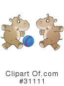Royalty-Free (RF) hippo Clipart Illustration #31111