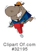 Royalty-Free (RF) Hippo Clipart Illustration #32195