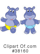 Royalty-Free (RF) Hippo Clipart Illustration #38160