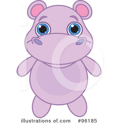 Royalty-Free (RF) Hippo Clipart Illustration by Pushkin - Stock Sample #96185