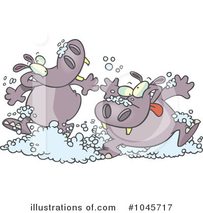 Royalty-Free (RF) Hippos Clipart Illustration by Ron Leishman - Stock Sample #1045717