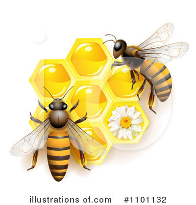 Royalty-Free (RF) Honey Bee Clipart Illustration by merlinul - Stock Sample #1101132
