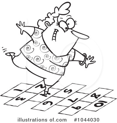 Royalty-Free (RF) Hopscotch Clipart Illustration by Ron Leishman - Stock Sample #1044030