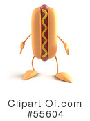 Royalty-Free (RF) Hot Dog Character Clipart Illustration #55604