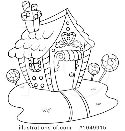 Gingerbread House Black And White