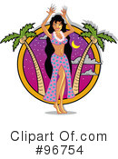 Royalty-Free (RF) hula girl Clipart Illustration #96754