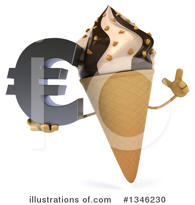 Waffle Ice Cream Cone Character Clipart #1346230 by Julos