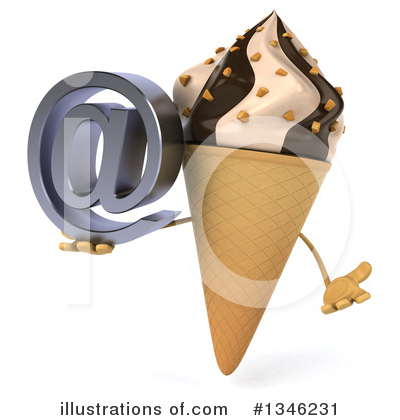 Waffle Ice Cream Cone Character Clipart #1346231 by Julos