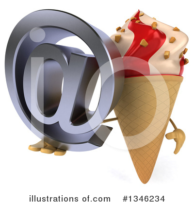 Waffle Ice Cream Cone Character Clipart #1346234 by Julos
