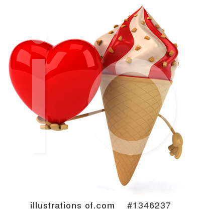 Waffle Ice Cream Cone Character Clipart #1346237 by Julos
