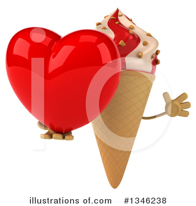 Waffle Ice Cream Cone Character Clipart #1346238 by Julos