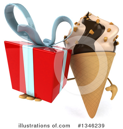 Waffle Ice Cream Cone Character Clipart #1346239 by Julos