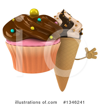 Waffle Ice Cream Cone Character Clipart #1346241 by Julos