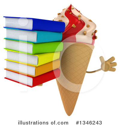 Waffle Ice Cream Cone Character Clipart #1346243 by Julos
