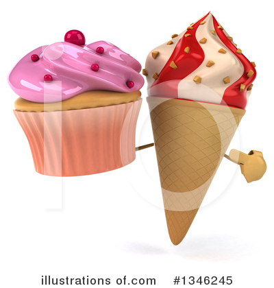 Waffle Ice Cream Cone Character Clipart #1346245 by Julos