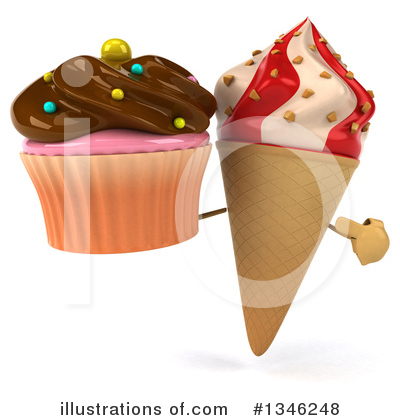 Waffle Ice Cream Cone Character Clipart #1346248 by Julos