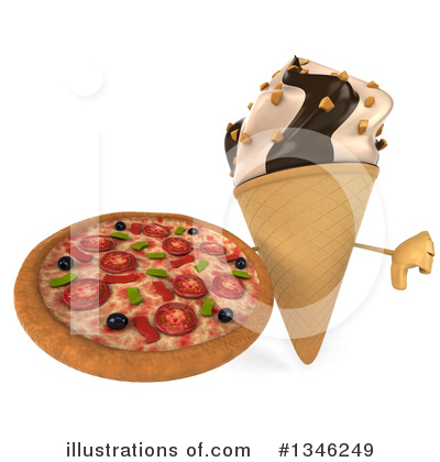 Waffle Ice Cream Cone Character Clipart #1346249 by Julos