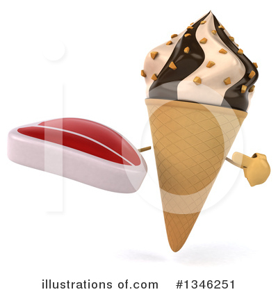 Waffle Ice Cream Cone Character Clipart #1346251 by Julos