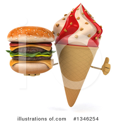 Waffle Ice Cream Cone Character Clipart #1346254 by Julos