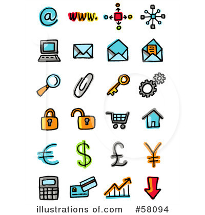 Royalty-Free (RF) Icons Clipart Illustration by NL shop - Stock Sample #58094