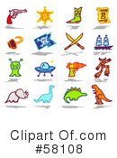 Royalty-Free (RF) Icons Clipart Illustration #58108