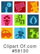 Royalty-Free (RF) Icons Clipart Illustration #58130