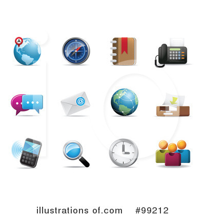 Royalty-Free (RF) Icons Clipart Illustration by Qiun - Stock Sample #99212