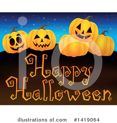 Halloween Pumpkins Clipart #1419064 by visekart