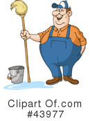 Royalty-Free (RF) Janitor Clipart Illustration #43977