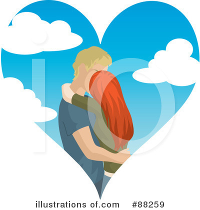 Royalty-Free (RF) Kissing Couple Clipart Illustration by Rosie Piter - Stock Sample #88259