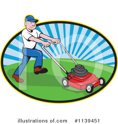 Lawn Mower Clipart #1139451 by patrimonio