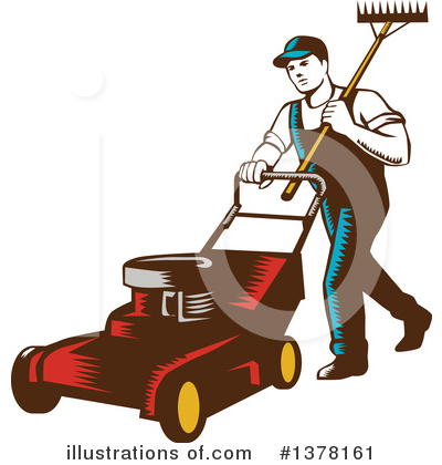 Lawn Mower Clipart #1378161 by patrimonio