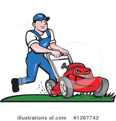 Lawn Mower Clipart #1367743 by patrimonio
