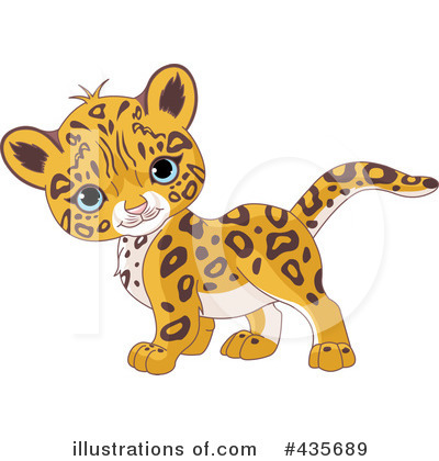 Royalty-Free  RF  Leopard Clipart Illustration by Pushkin - Stock    Baby Cheetah Clipart Black And White