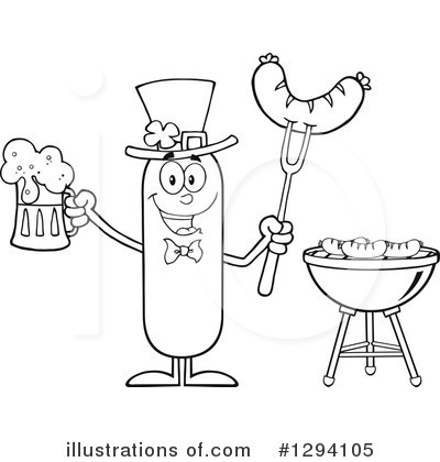 Sausage Character Clipart #1294105 by Hit Toon