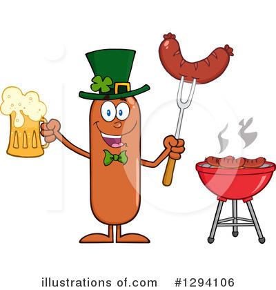 Sausage Character Clipart #1294106 by Hit Toon