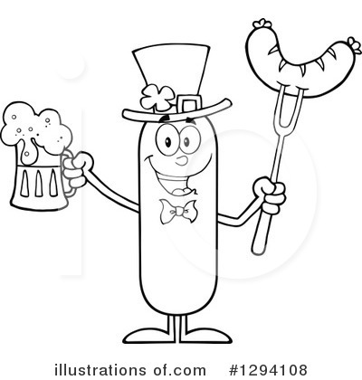 Sausage Character Clipart #1294108 by Hit Toon