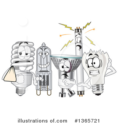 Royalty-Free (RF) Light Bulb Clipart Illustration by Toons4Biz - Stock Sample #1365721