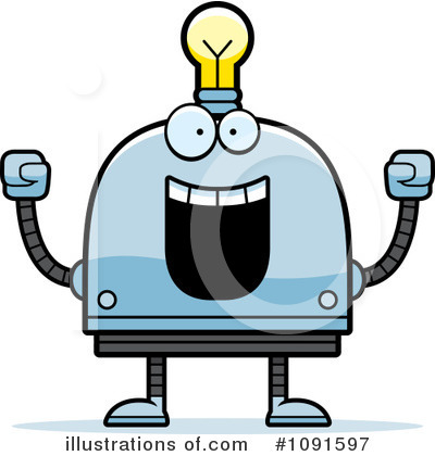Light Bulb Robot Clipart #1091597 by Cory Thoman