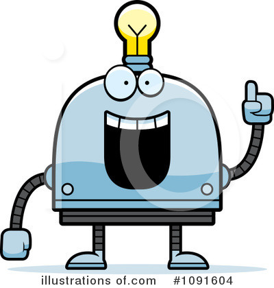 Light Bulb Robot Clipart #1091604 by Cory Thoman