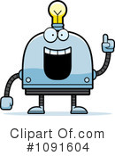 Royalty-Free (RF) Light Bulb Robot Clipart Illustration #1091604