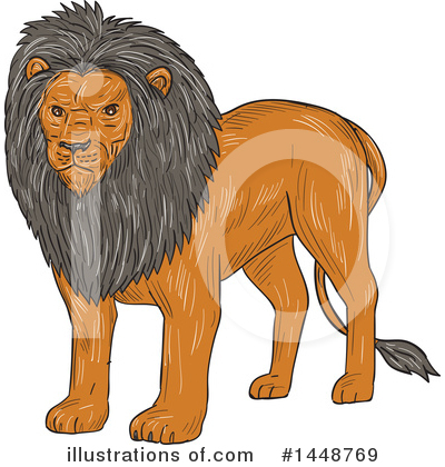 Royalty-Free (RF) Lion Clipart Illustration by patrimonio - Stock Sample #1448769