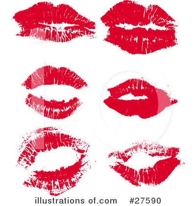 Royalty-Free (RF) Lipstick Kiss Clipart Illustration by KJ Pargeter - Stock Sample #27590