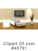 Royalty-Free (RF) Living Room Clipart Illustration #46791