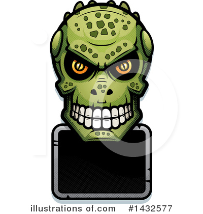 Lizardman Skull Clipart #1432577 by Cory Thoman