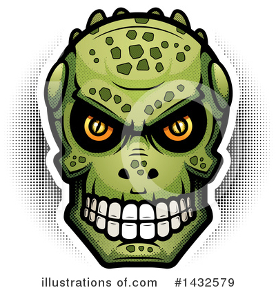 Lizardman Skull Clipart #1432579 by Cory Thoman