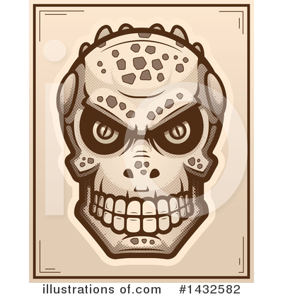 Lizardman Skull Clipart #1432582 by Cory Thoman