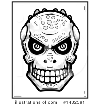 Lizardman Skull Clipart #1432591 by Cory Thoman