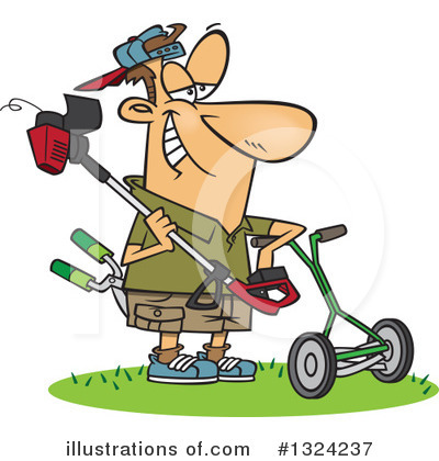 Lawn Mower Clipart #1324237 by toonaday
